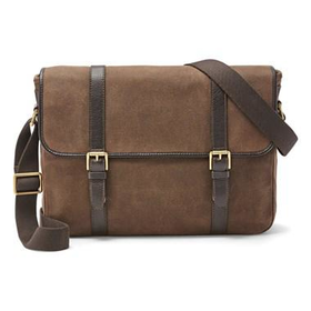 Men's Fossil 'Estate' Twill & Leather Messenger Bag - Brown