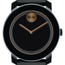 Men's Movado 'Bold' Leather Strap Watch, 42mm - Black