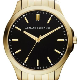 Men's AX Armani Exchange Round Bracelet Watch, 45mm - Gold/ Black