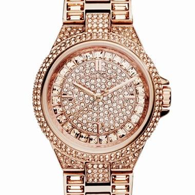 Women's Michael Kors 'Mini Camille' Crystal Encrusted Bracelet Watch, 33mm - Rose Gold