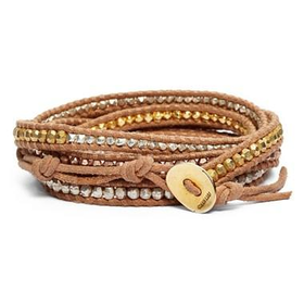 Women's Chan Luu Beaded Leather Wrap Bracelet - Gold Mix/ Beige