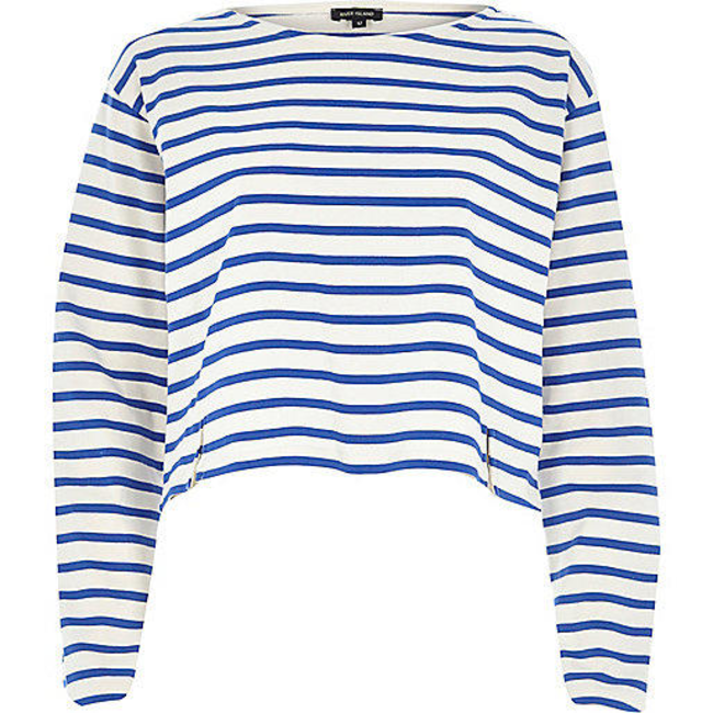 59d95cbed1cb River Island Womens Blue stripe boxy cropped top