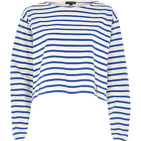 River Island Womens Blue stripe boxy cropped top