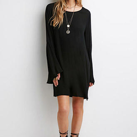 Crochet-Paneled Bell Sleeve Shift Dress