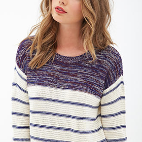 FOREVER 21 Striped & Marled Sweater Cream/Navy Small