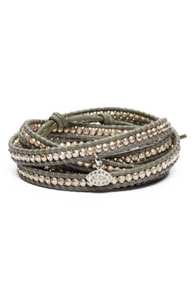 Women S Chan Luu Beaded Leather Wrap Bracelet Silver Iceberg