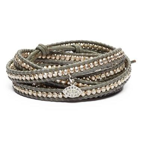 Women's Chan Luu Beaded Leather Wrap Bracelet - Silver/ Iceberg