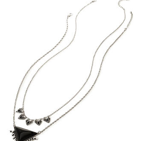 FOREVER 21 Triangle Pendant Necklace Set Burn.S/Black One