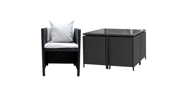 Rattan Effect 4 Seat Cube Garden Set At Home Bargains Homebargains