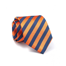 Orange Navy Stripe Silk Tie