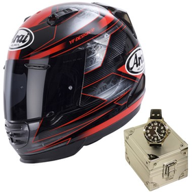 Arai Rebel Motorcycle Helmet Chronus Red with Arai TW Steel Watch