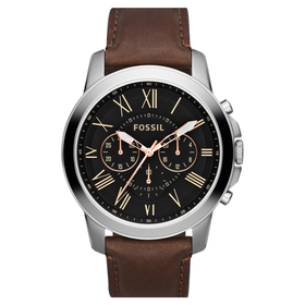 'Grant' Round Chronograph Leather Strap Watch, 44mm