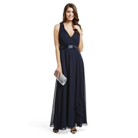 No. 1 Jenny Packham Designer navy waterfall maxi dress