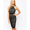 Lipsy High Neck Bodycon Dress In Geo Lace at asos.com