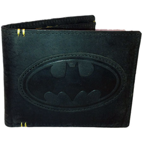 Batman Black Real Leather Wallet With Stitching Detail