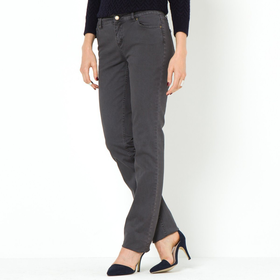 Straight Cut, 5-Pocket Style Stretch Cotton Trousers