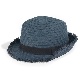 Paper Straw Hat with 'Raw' Frayed Edges and Plain Braid Trim