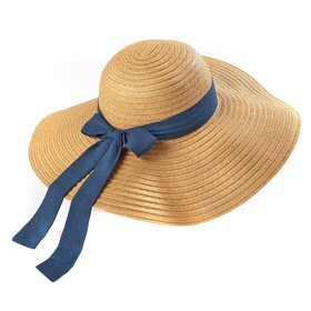 Wide-Brimmed Paper Straw Hat With Ribbon Bow