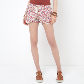 Softly Draping Printed Cotton Shorts