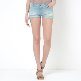 Stretch Cotton Denim Shorts with Liberty Print Details
