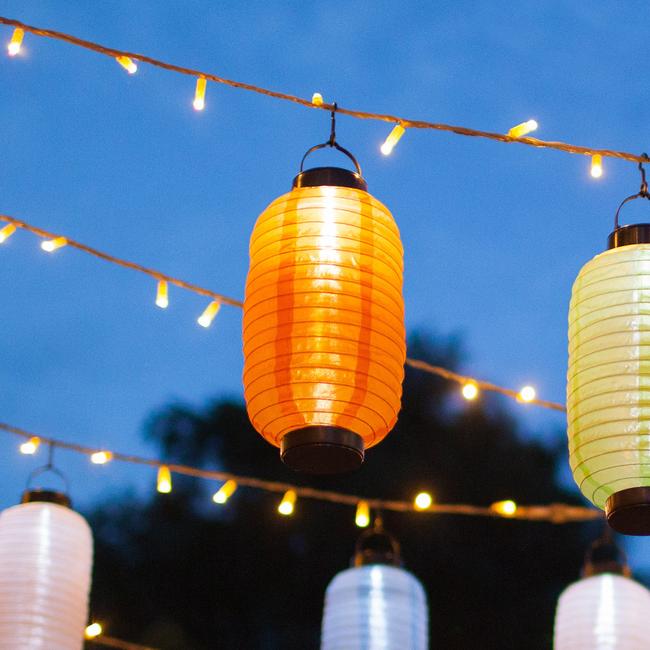 Orange Ellipse Solar Led Chinese Lantern