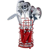 ColourMatch Stainless Steel 5 Pc Kitchen Utensils Set - Red.