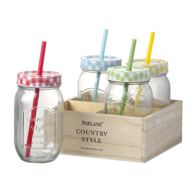 Parlane Jar Bottle With Straws