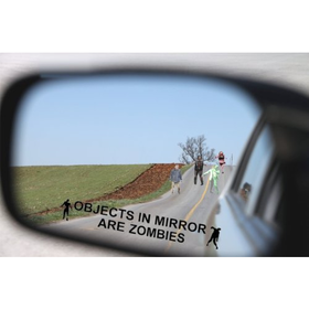 Objects in Mirror Are Zombies Decal - Bio Hazard Scary Outbreak Response BLACK Etched Glass Vinyl Fu