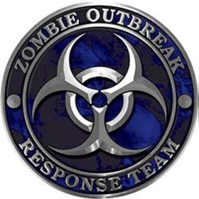 REFLECTIVE Zombie Response Team Zombie Outbreak Decal with Blue Skulls