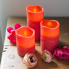 Set Of 3 Red Distressed Wax LED Candles