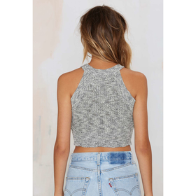 Smash Knit Ribbed Crop Top - Gray
