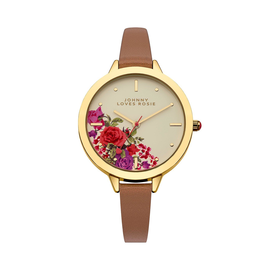 Johnny Loves Rosie Floral Gold Dial Tan PU Strap Ladies Watch