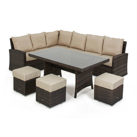 Debenhams Dark Brown Rattan Effect La Kingston Corner Garden Dining Unit