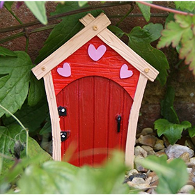 NEW SMALL RED FAIRY DOOR GARDEN ORNAMENT TREES OR WALL