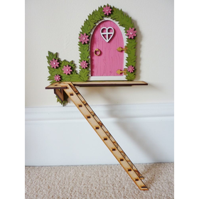 "Pink ""The Tree House"" Hand Painted Fairy Door With Ladder Magical Gift"