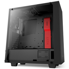 NZXT S340 Elite ATX Mid Tower Computer Case, Matte Black/Red