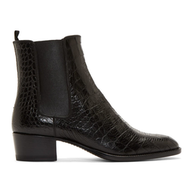 Black Croc-Embossed Wyatt Boots