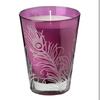 Purple etched peacock feather candle