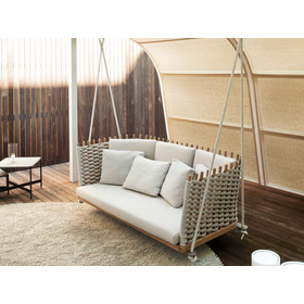 Wooden garden swing seat Wabi Collection by Paola Lenti | design Francesco Rota