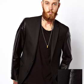 ASOS Slim Fit Blazer With PU Sleeves