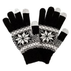 Satzuma Black Snow Flakes Touch Screen Gloves