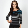Dark turquoise multi striped jumper